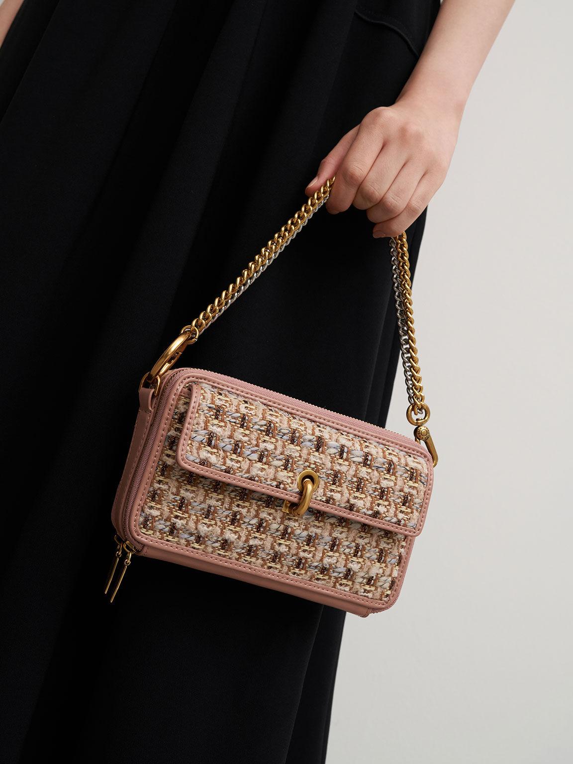 Tweed Boxy Crossbody Bag, Blush, hi-res