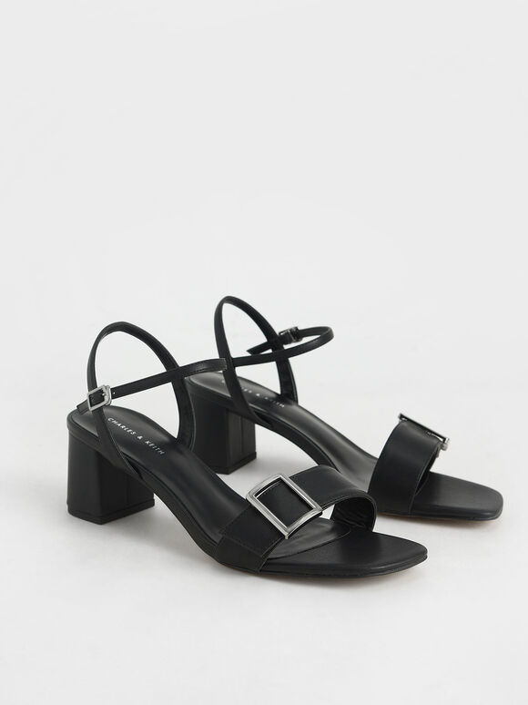 Buckle Strap Sandals, Black, hi-res