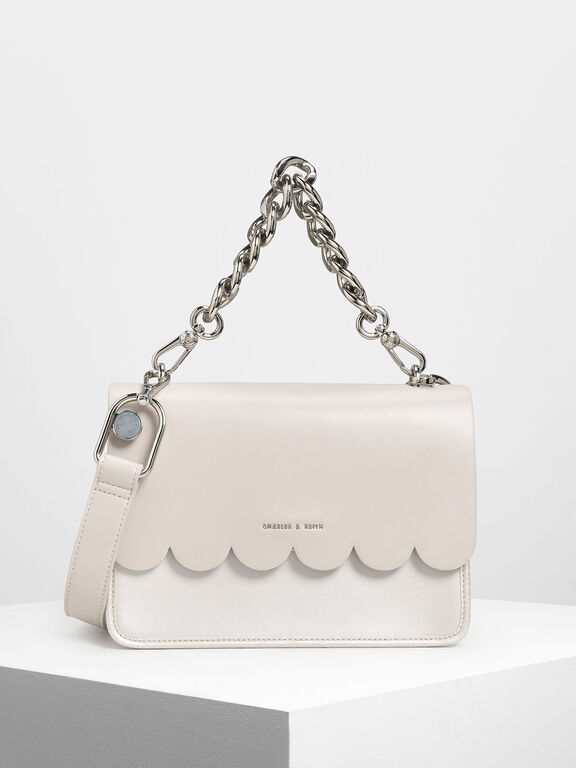 Scallop Edge Front Flap Bag, Pearl