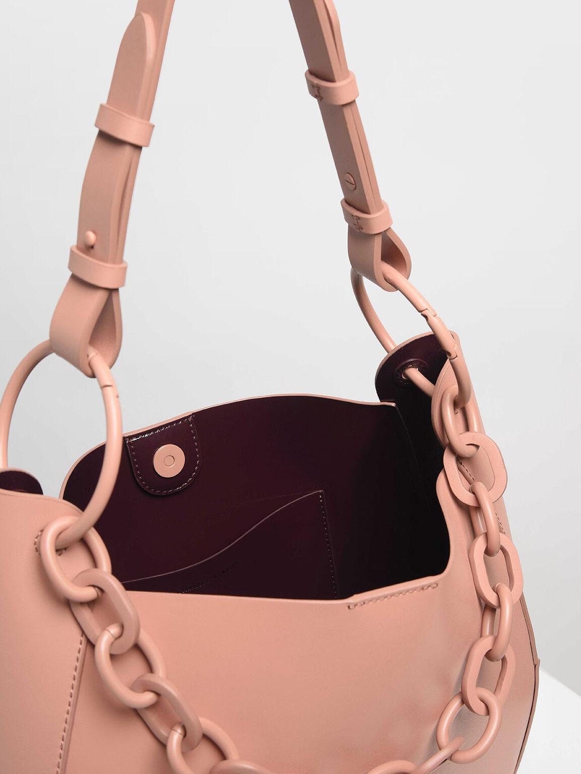 Chunky Chain Link Large Hobo Bag, Pink, hi-res
