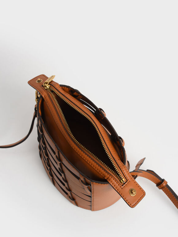 Braided Bucket Bag, Cognac, hi-res