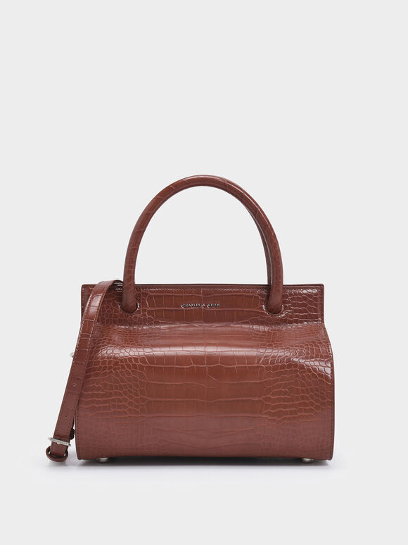 Croc-Effect Double Top Handle Structured Bag, Burgundy, hi-res