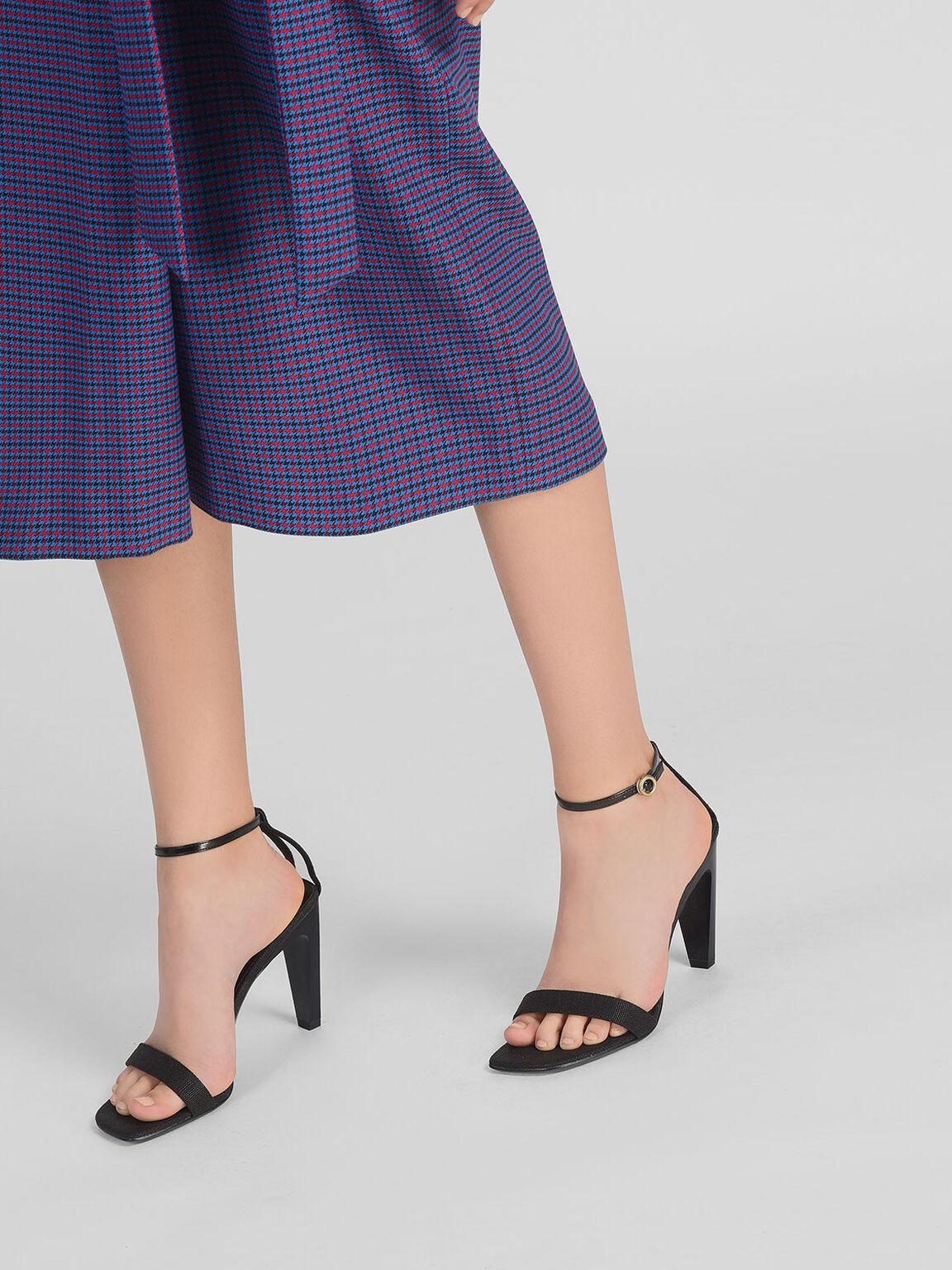 Ankle Strap Heels, Black, hi-res