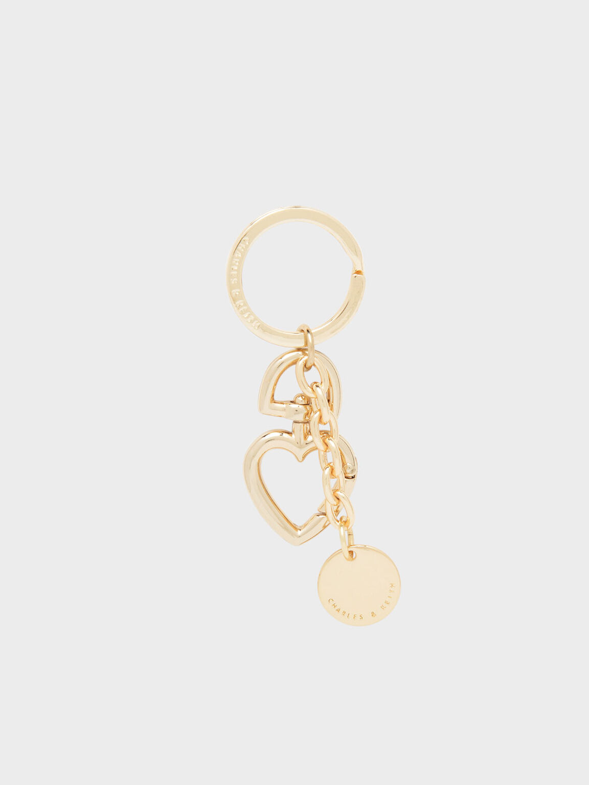 Heart Shaped Clasp Keychain, Gold, hi-res