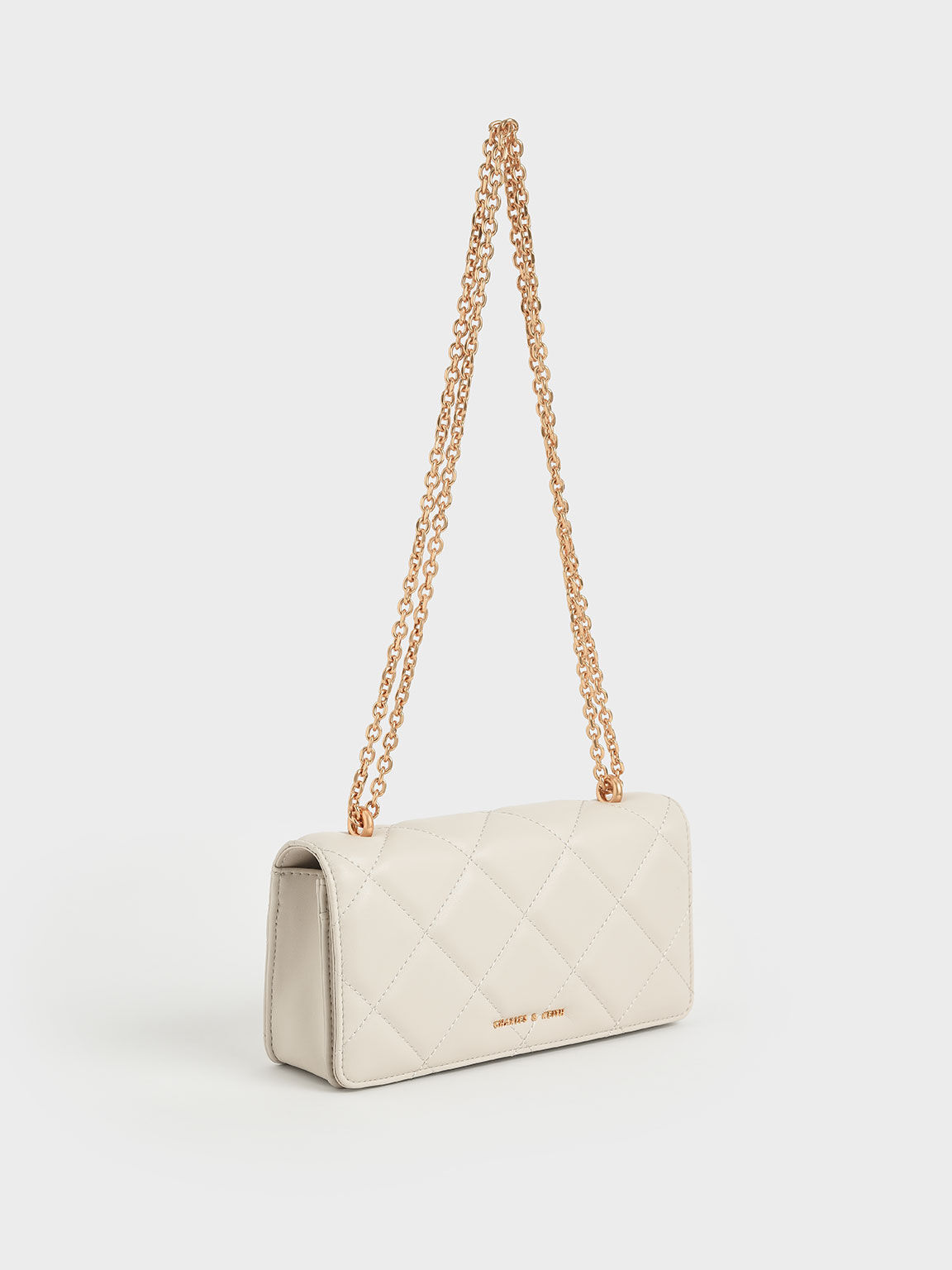 Chain Handle Quilted Long Wallet, Cream, hi-res