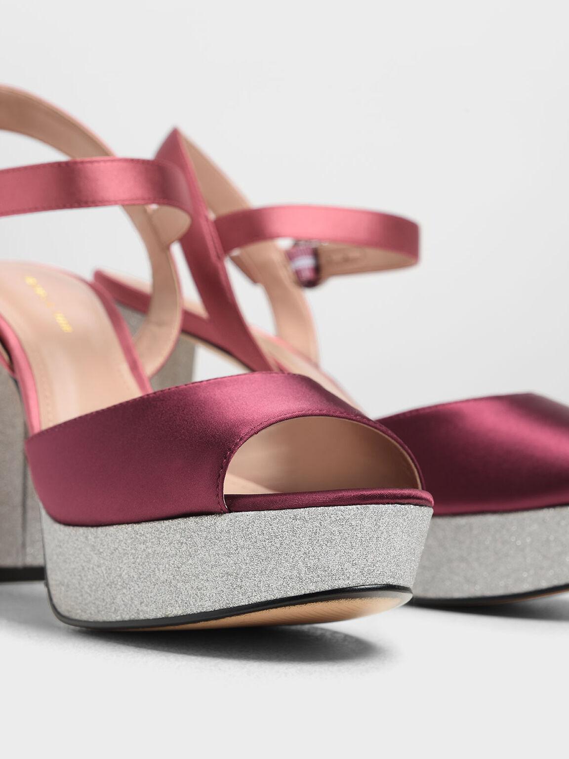 Glitter Platform Heels, Red, hi-res