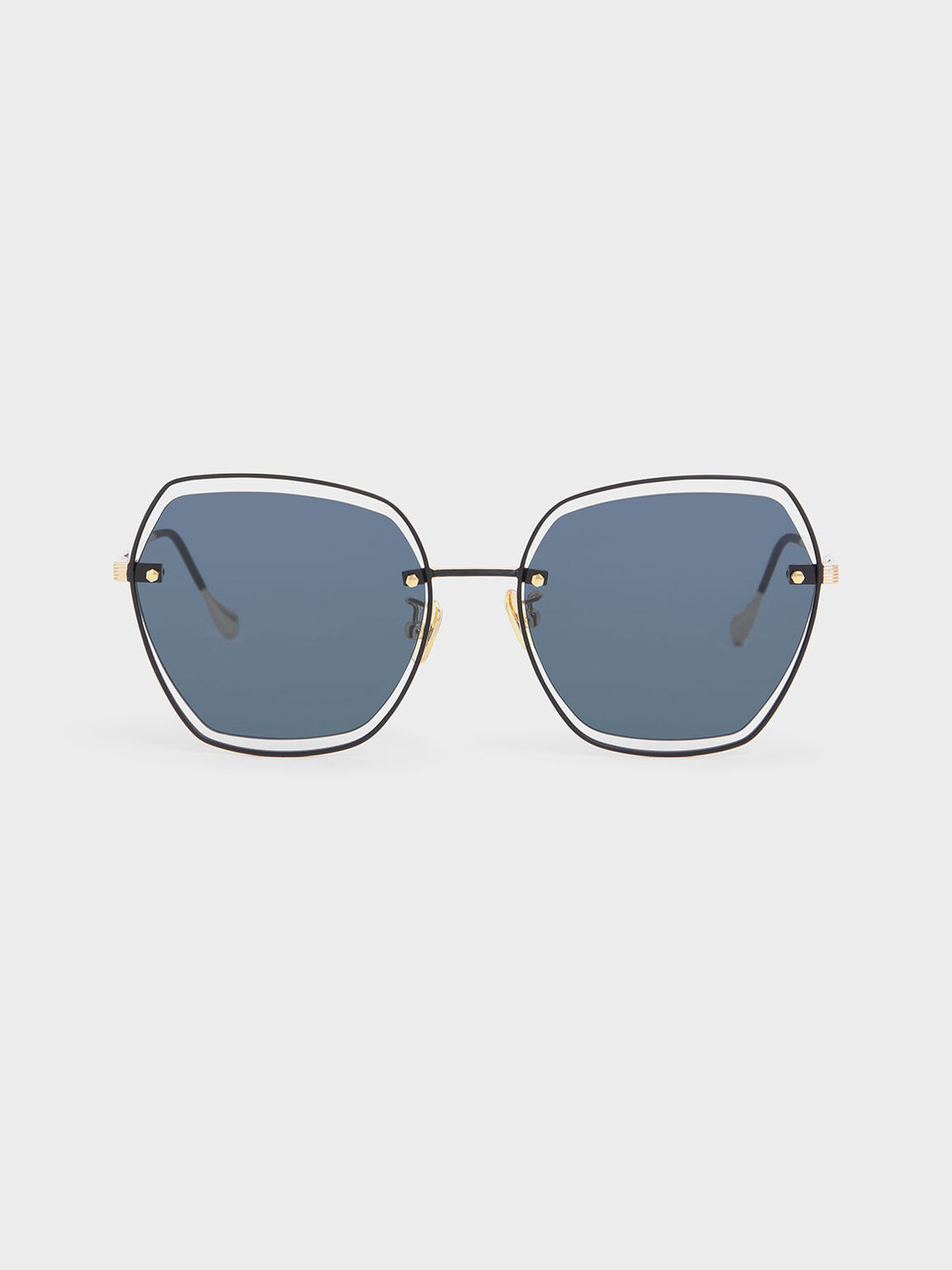 Double Wire Frame Butterfly Sunglasses, Dark Blue, hi-res