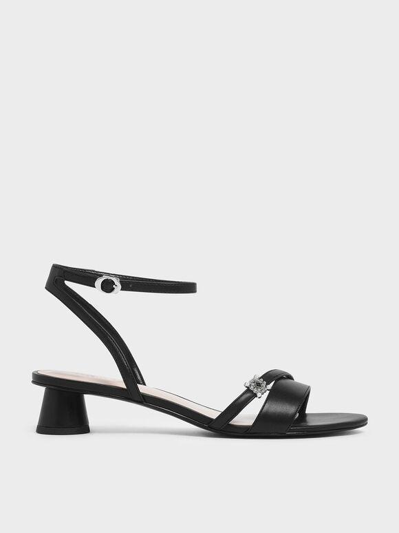 Gem Embellished Cylindrical Heel Sandals, Black, hi-res