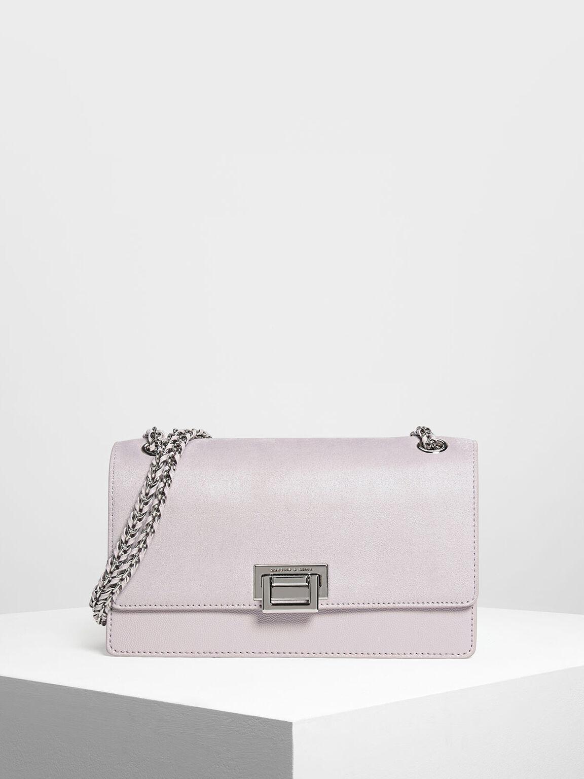 Textured Chain Link Shoulder Bag, Lilac, hi-res