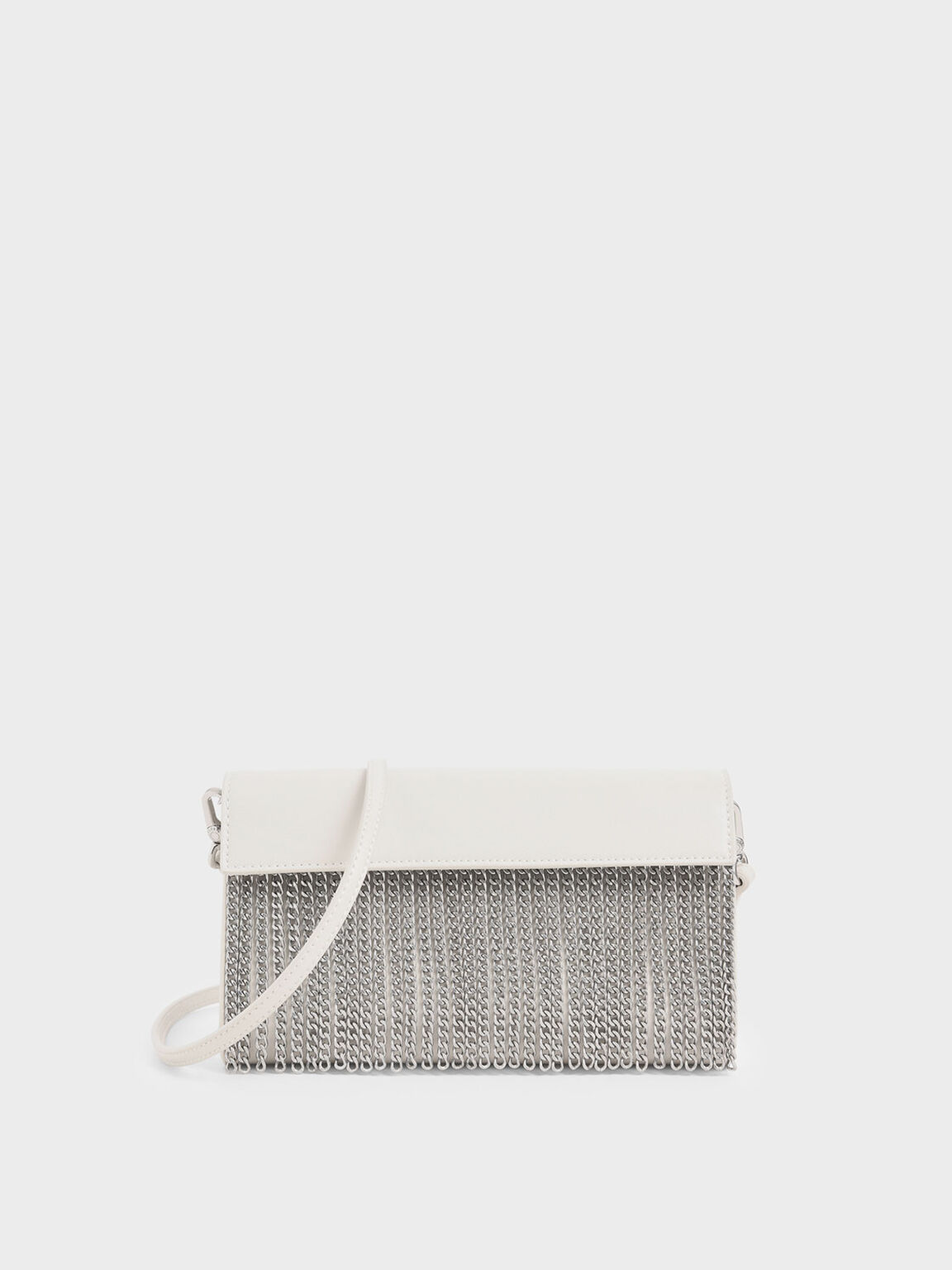 Chain Fringe Clutch, Cream, hi-res