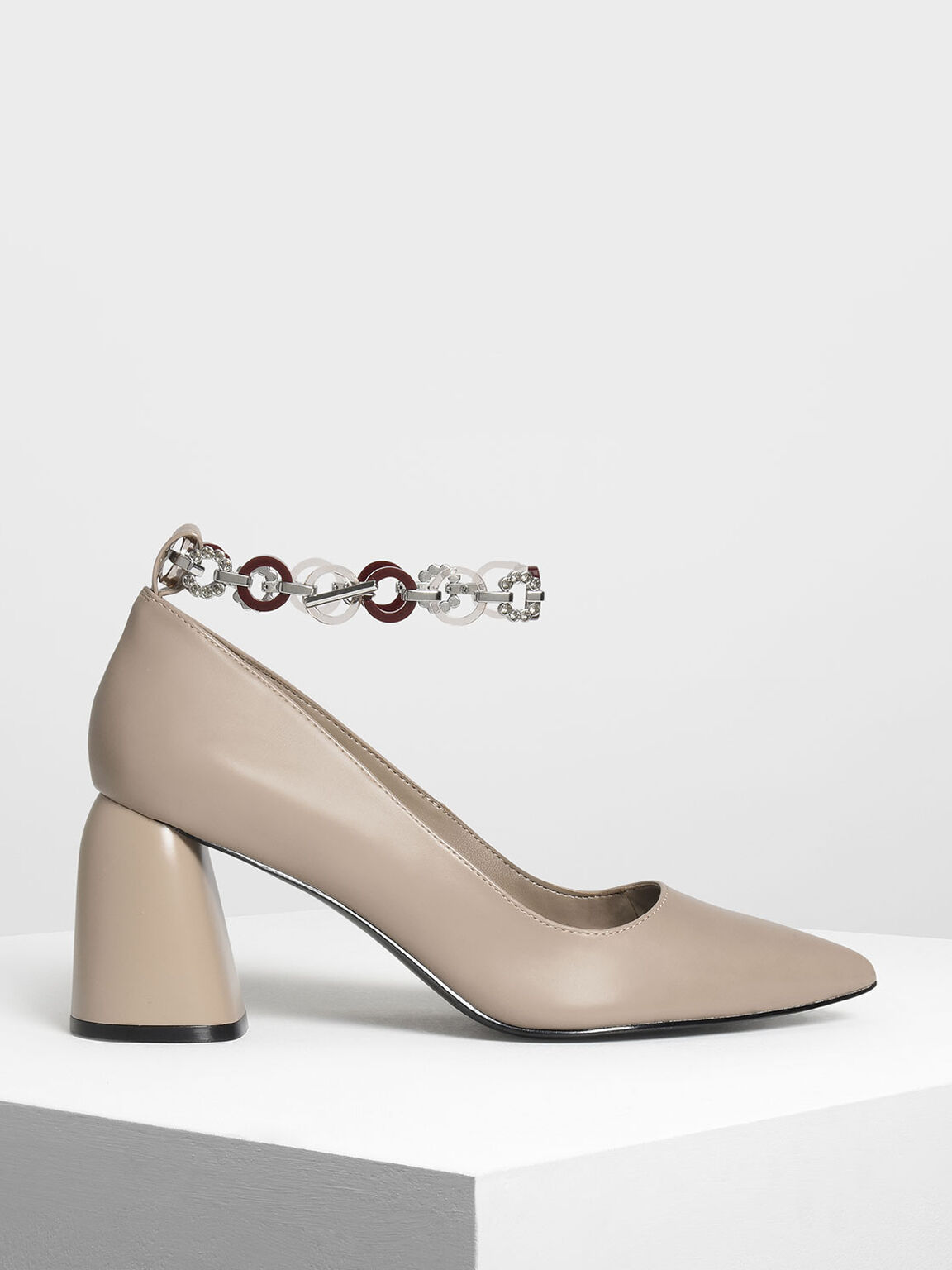 Chain Anklet Detail Pumps, Taupe, hi-res