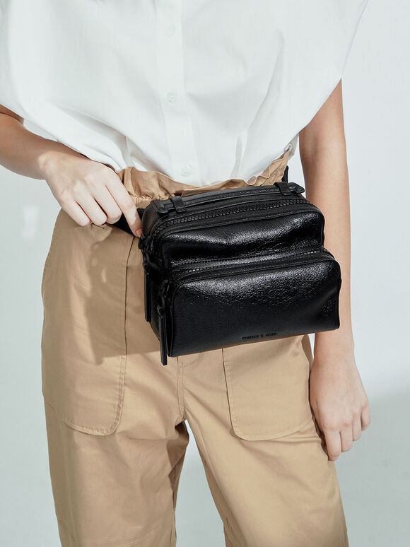 Double Zip Bag, Black, hi-res