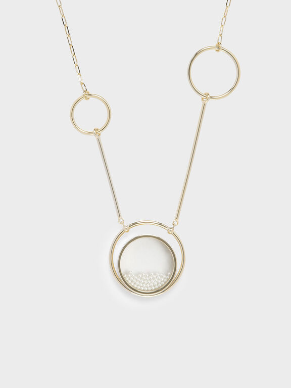 Pearl Finish Stone Ring Detail Floating Locket Matinee Necklace, Pearl