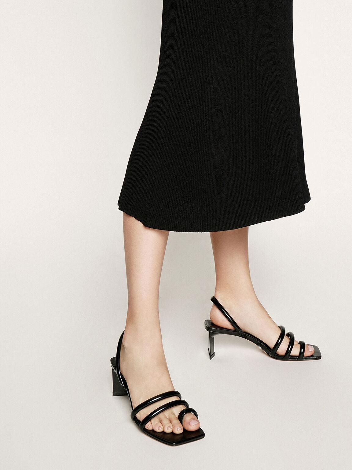 Toe Loop Strappy Slingback Heels, Black, hi-res