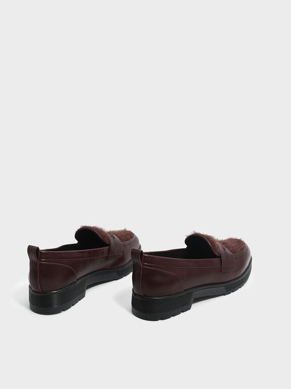 Furry Penny Loafers, Burgundy, hi-res