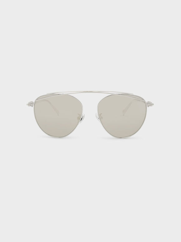 Wire Frame Aviators, Silver, hi-res