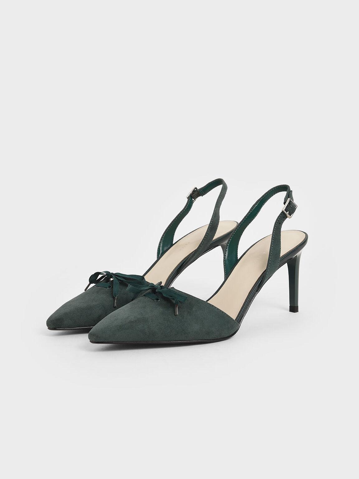 Ribbon Tie Textured Slingback Heels, Dark Green, hi-res