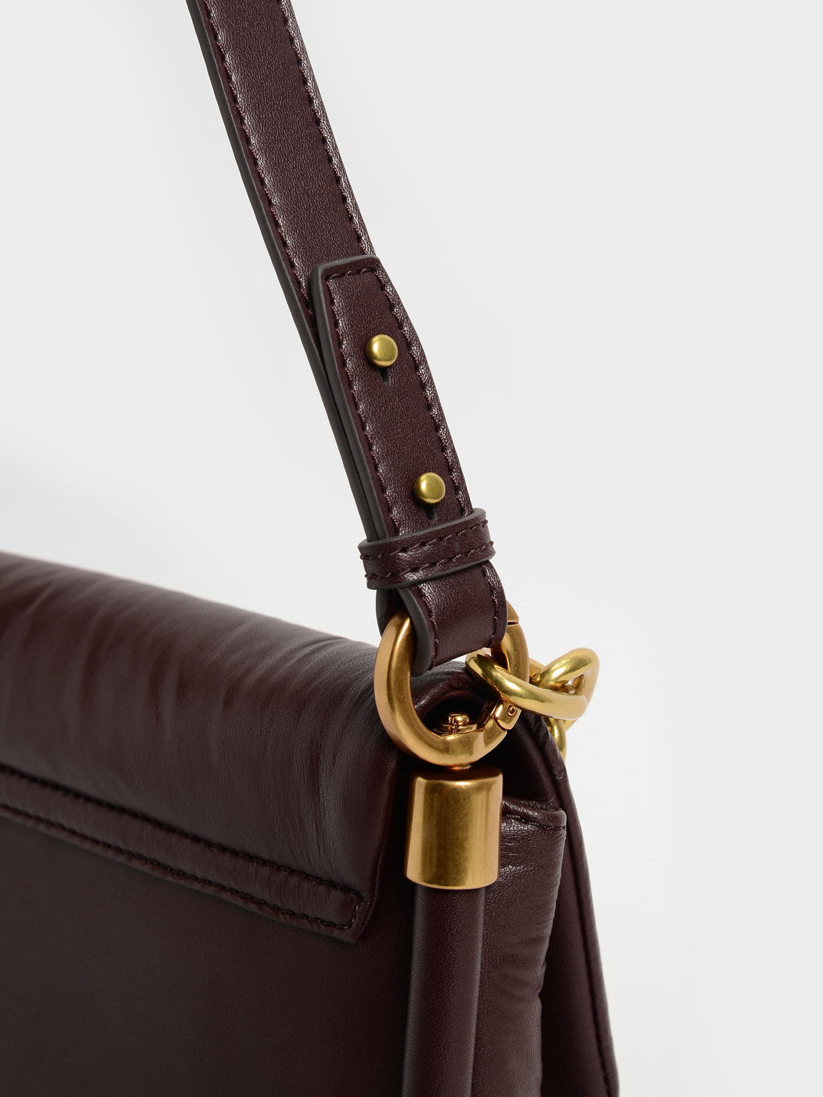 Zadie Padded Shoulder Bag, Burgundy, hi-res