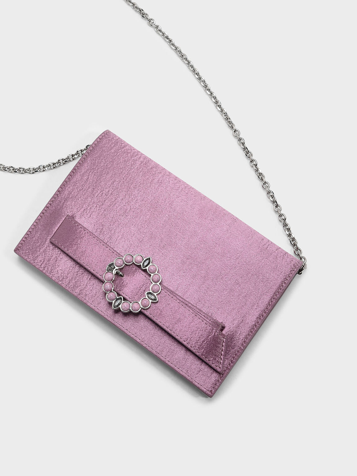 Embellished Buckle Satin Clutch, Pink, hi-res