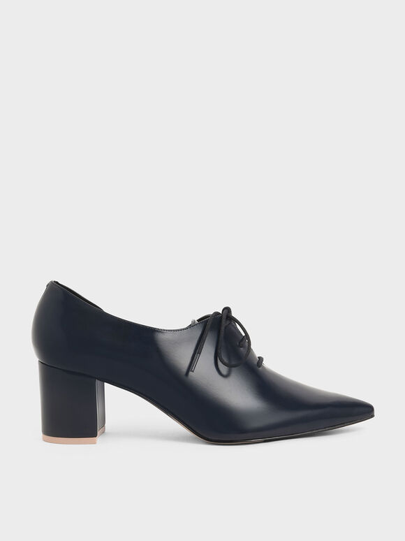 D'Orsay Oxford Block Heels, Dark Blue, hi-res