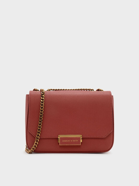 Classic Push-Lock Crossbody Bag, Brick, hi-res