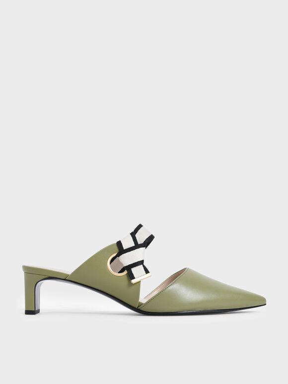 織帶扭結低跟鞋, 橄欖色, hi-res