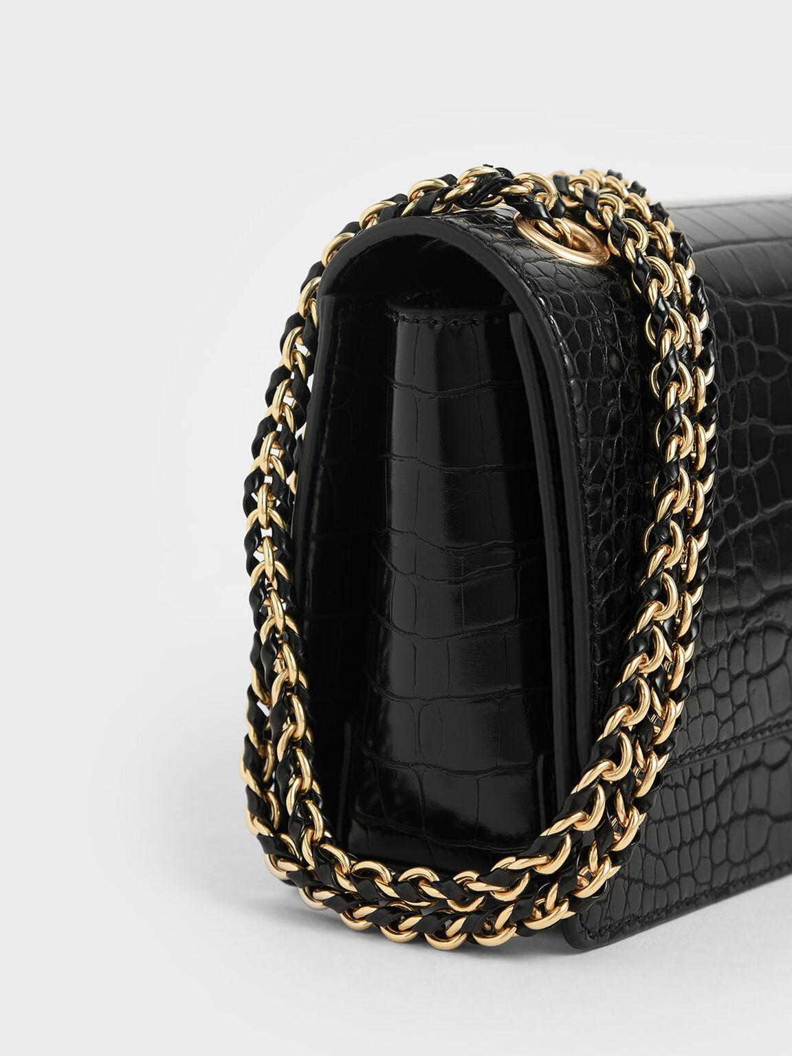 Textured Chain Handle Bag, Black, hi-res