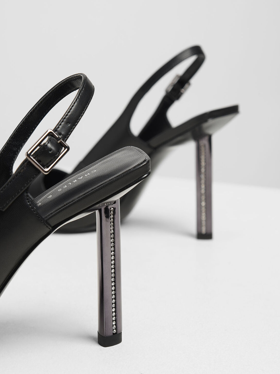 Gem Encrusted Blade Heel Pumps, Black, hi-res