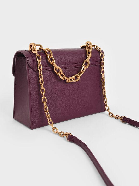 鍊條掀蓋斜背包, 紫色, hi-res