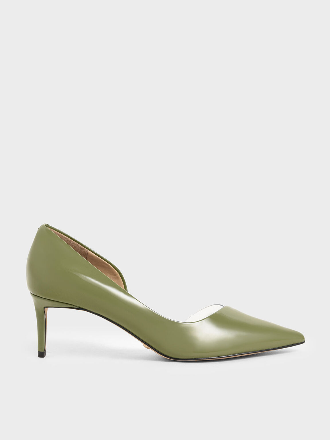 Patent Leather D'Orsay Pumps, Green, hi-res