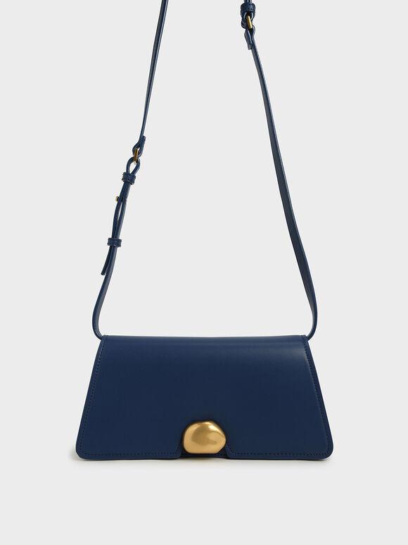 Metallic Accent Trapeze Shoulder Bag, Dark Blue, hi-res