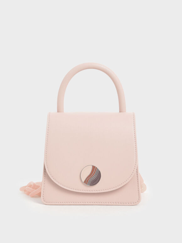 Chunky Chain Handle Mini Bag, Nude, hi-res