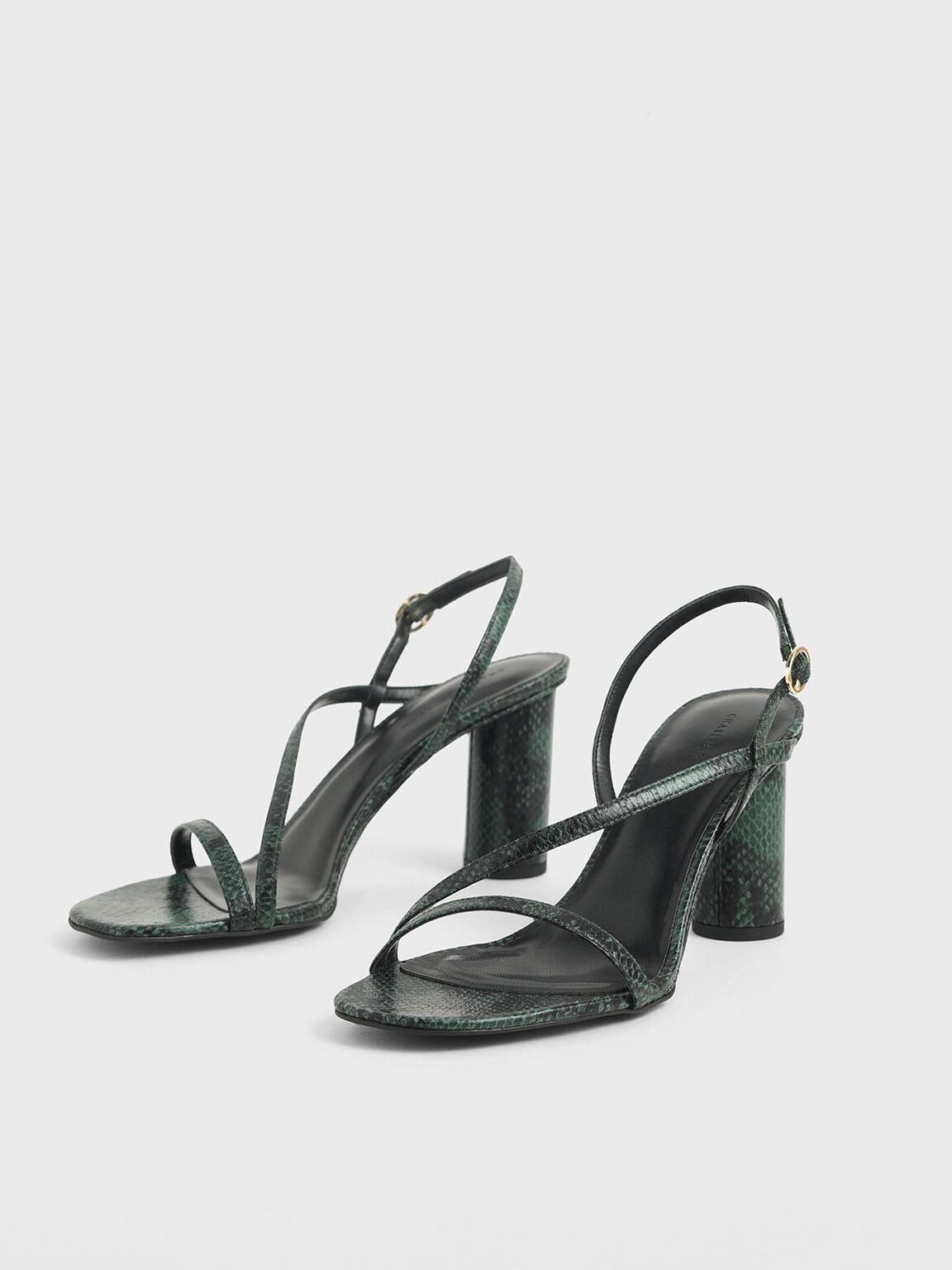 Snake Print Asymmetric Strap Sandals, Dark Green, hi-res