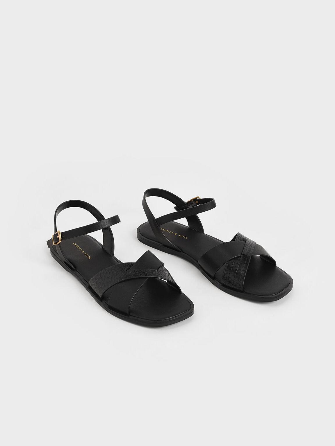 Mock-Croc Flat Sandals, Black, hi-res