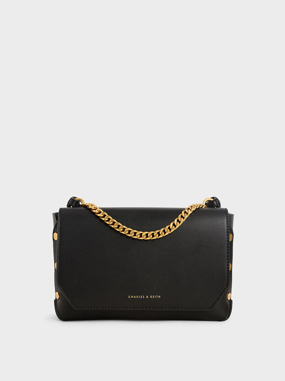 Studded Chain Link Shoulder Bag, Black, hi-res