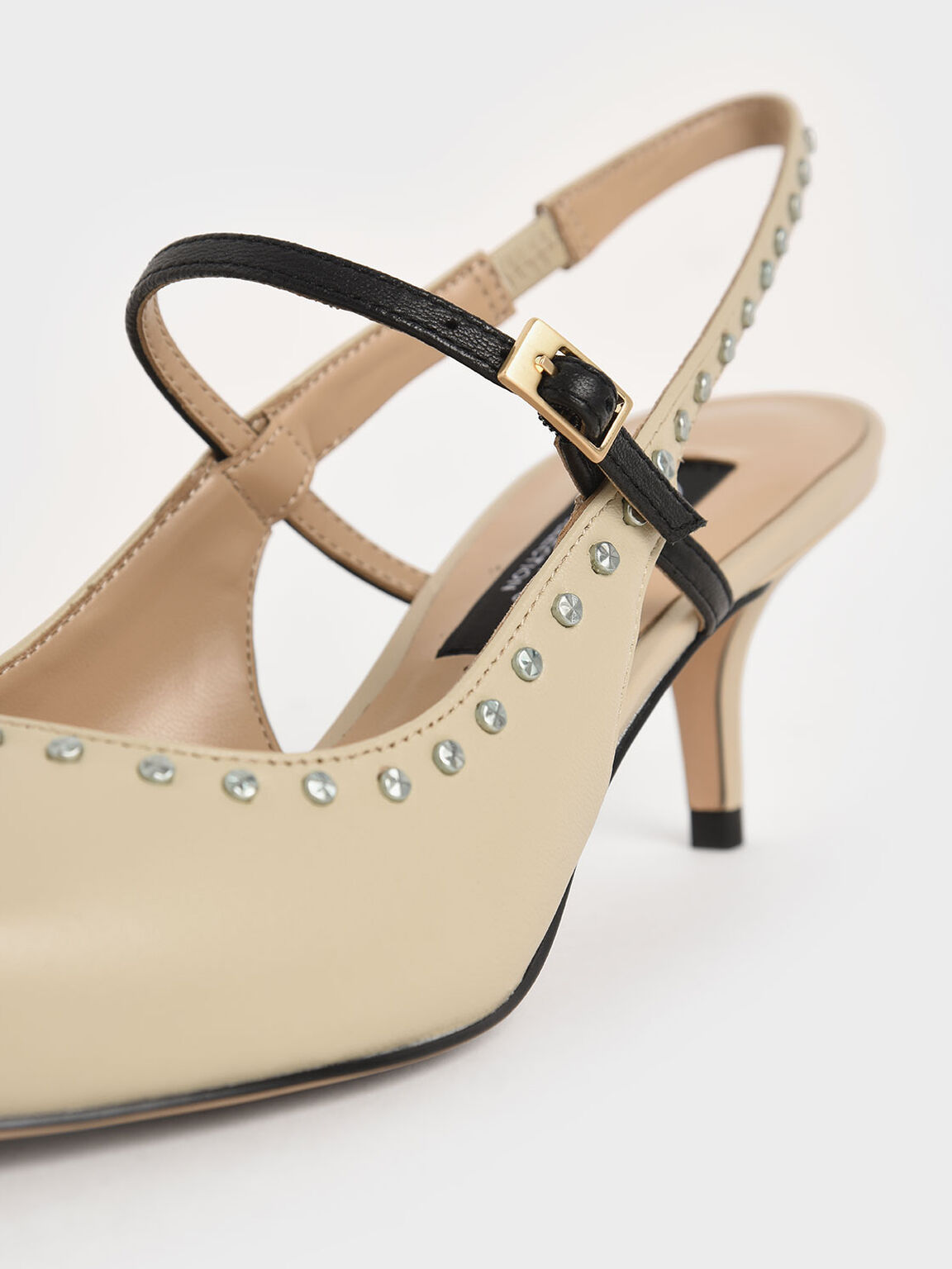 Studded Leather Slingback Pumps, Beige, hi-res