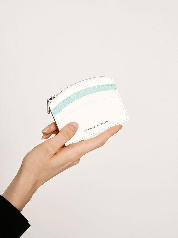 투-톤 멀티-슬롯 지퍼 카드 홀더, 화이트, hi-res