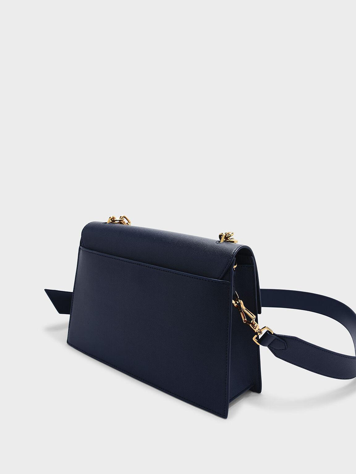 Front Flap Push-lock Bag, Navy, hi-res