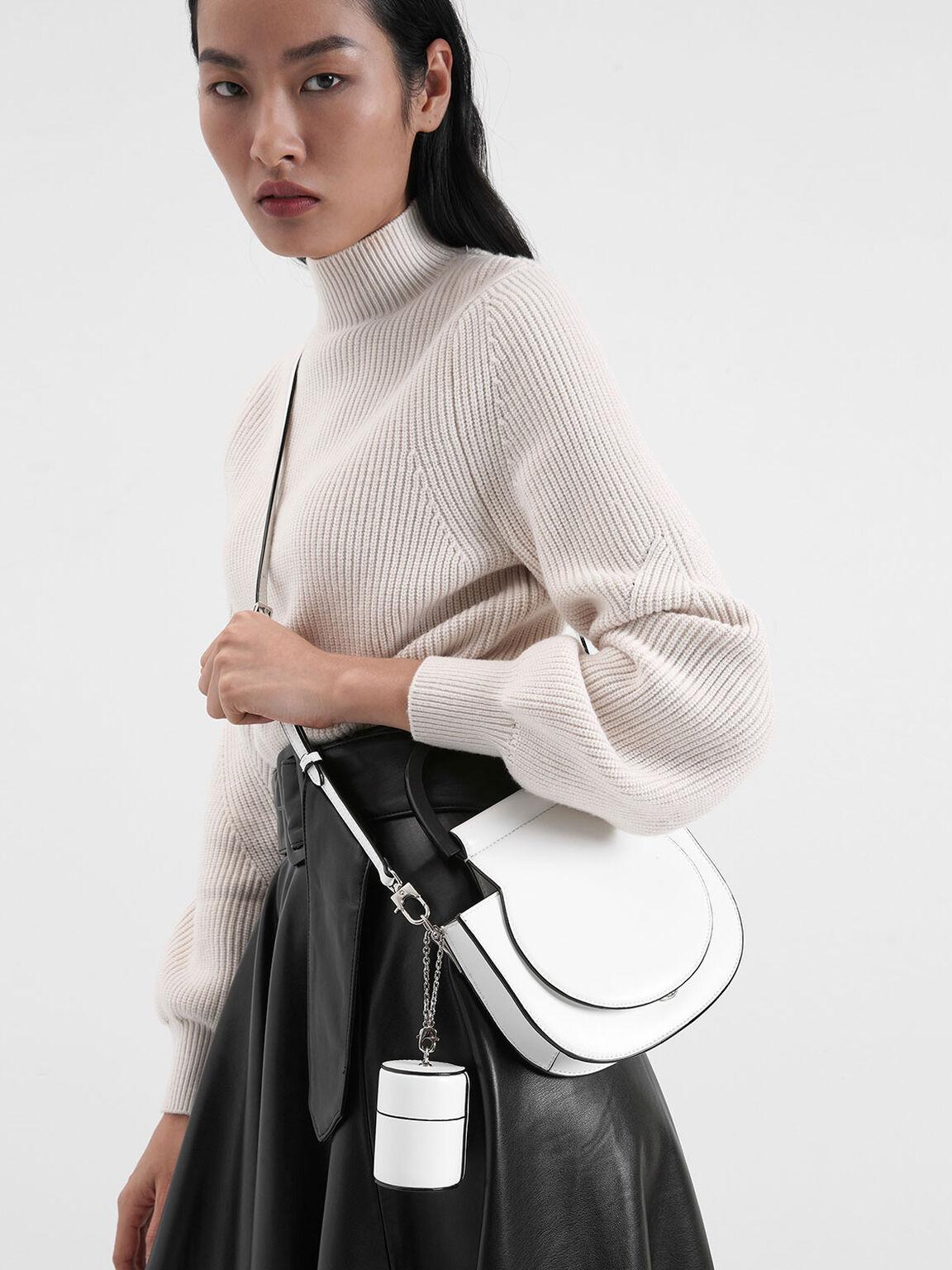 Mini Top Handle Bag Saddle Bag, White, hi-res