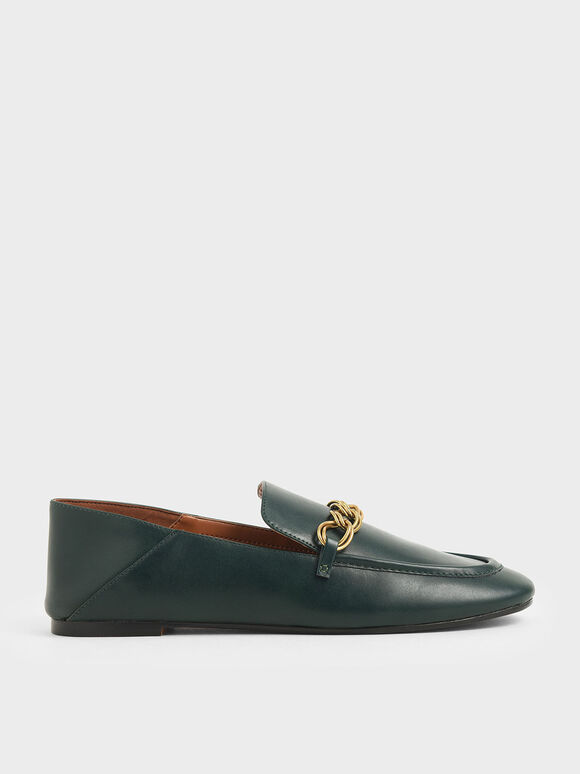 Chain Strap Step-Back Loafers, Green, hi-res