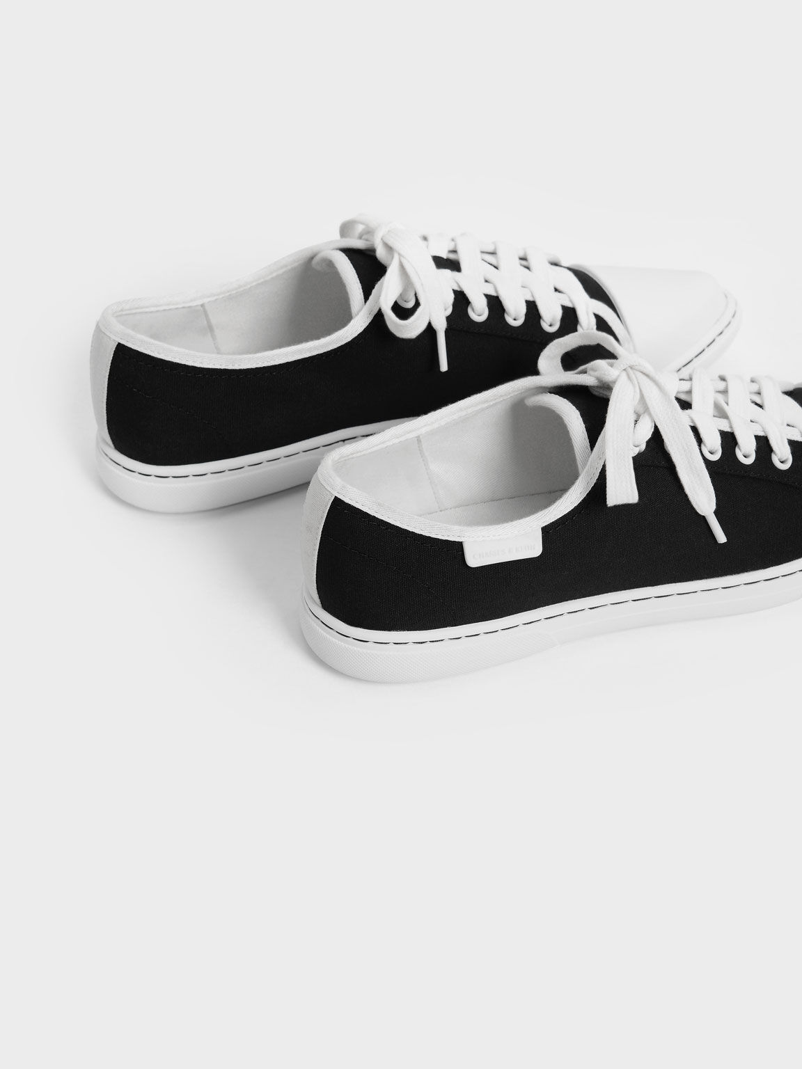 Recycled Cotton Pointed Toe Sneakers, Black, hi-res