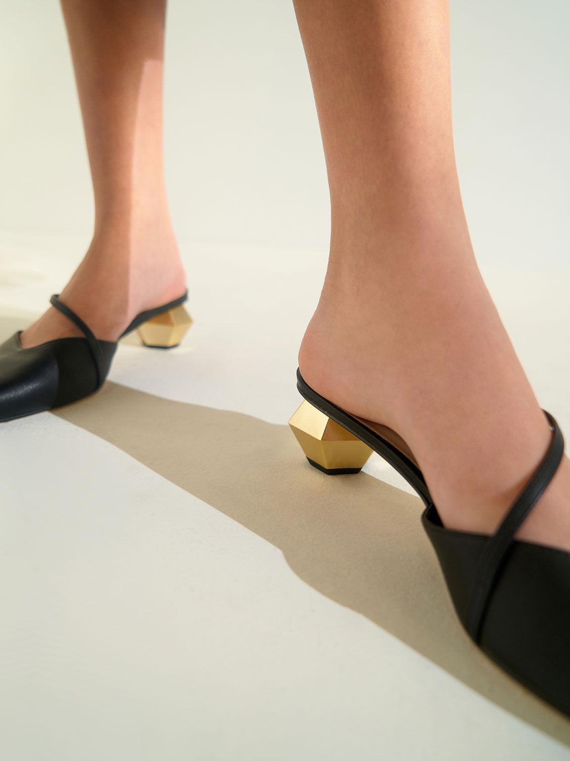 斜帶尖頭穆勒鞋, 黑色, hi-res