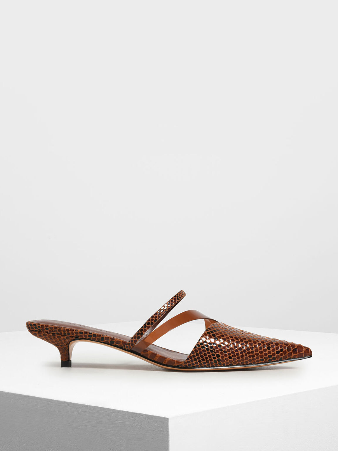 Croc-Effect Asymmetrical Kitten Heel Mules, Dark Brown, hi-res