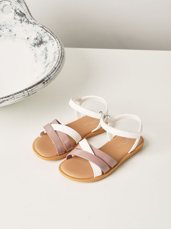 Girls' Patent Strappy Sandals, White, hi-res