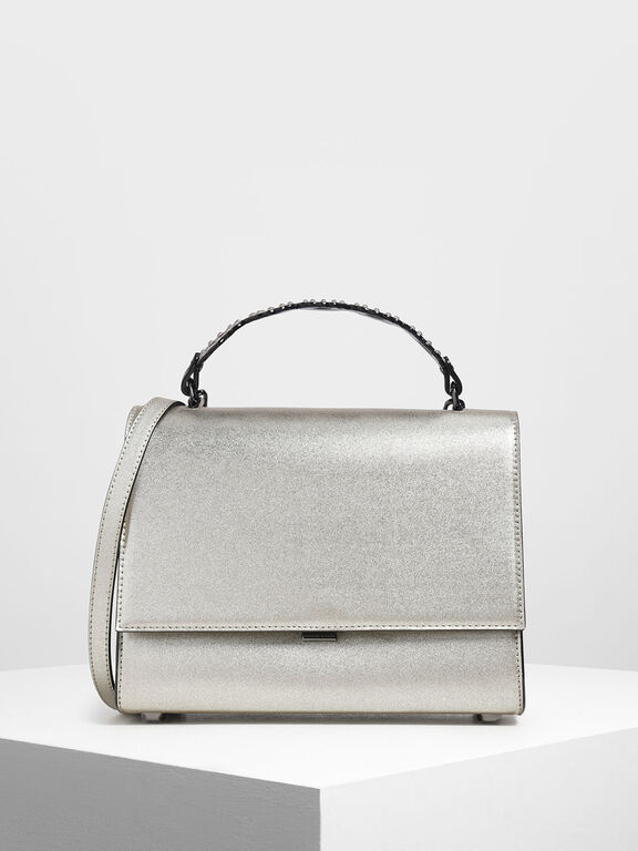 Metallic Structured Front Flap Bag, Silver