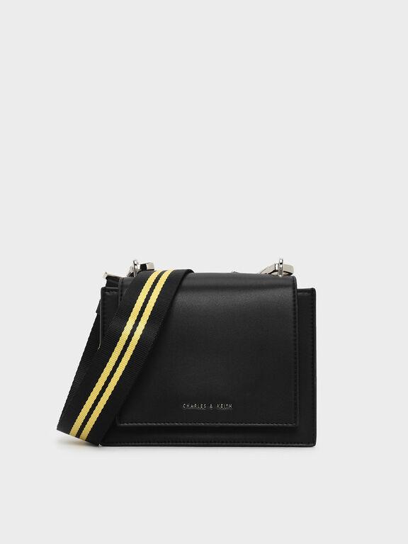 Nylon Strap Crossbody Bag, Black