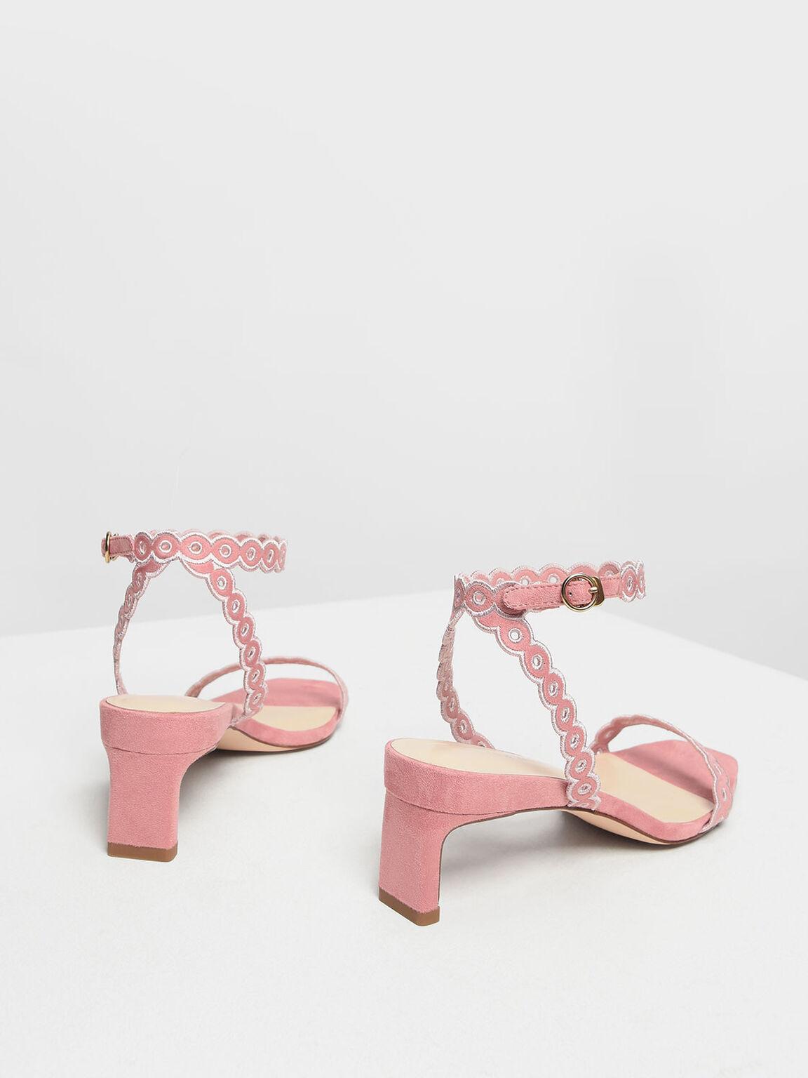 Circle Detail Ankle Strap Heels, Pink, hi-res