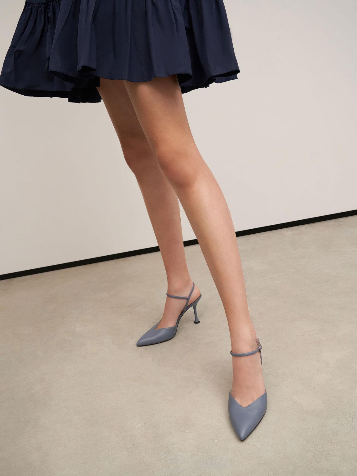 Sculptural Heel Ankle Strap Pumps, Light Blue, hi-res