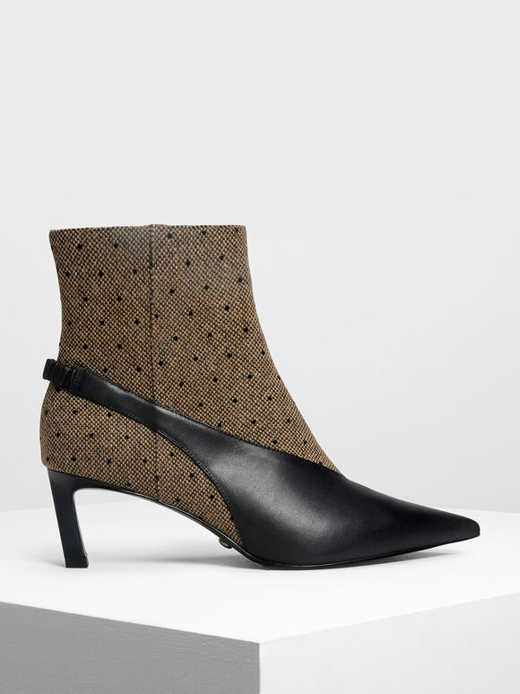 Slingback Effect Leather Ankle Boots, Multi, hi-res