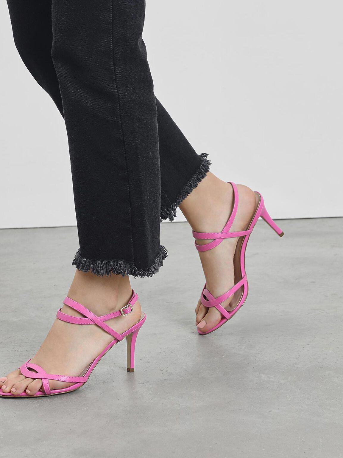 Criss-Cross Strappy Slingback Heels, Fuchsia, hi-res